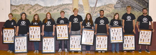 Pocahontas County High School students featured on the Warriors Above the Influence poster are, from left: Heather Pritt, Kayla Lester, Danielle Cain, Emily Boothe, Matthew Rao, Steven Simmons, Samantha Collins, Cary Robertson, Allie Erlewine, Steven Mick and Jimmy Campbell. S. Stewart photo