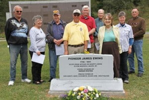 Attendees at last Wedneday's James Ewing Memorial included (l-r): former Marlinton Mayor Dennis Driscoll, Gail Hyer, Marlinton Mayor Joe Smith, Larry Ewing, Roger Orndorff, Bill McNeel, Ann Adele Lloyd, Jan Orndorff and Lanty McNeel.