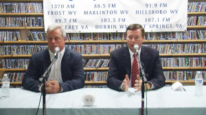 West Virginia State Senate District 11 candidates Robert Karnes, left, and incumbent Seantor Greg Tucker, right, answered questions on state and local issues during a forum on October 15. A video of the full forum can be found on the video page.