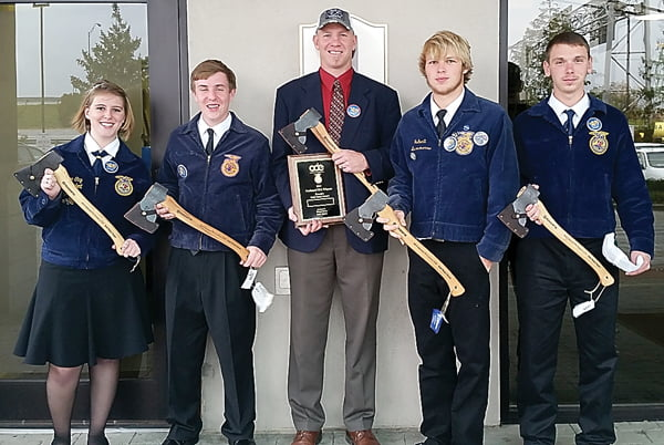 Pocahontas County High School FFA Forestry Team won second place at the National Competition last week in Louisville, Kentucky. From left, Lyndsee Gay, Matt Rao, forestry teacher Scott Garber, Stephen Simmons and Adam Irvine. Photo courtesy of Heather Simmons