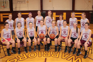 The 2014-2015 Pocahontas County High School Girls Basketball Team. Front row, left to right: Michelle Murphy, Sarah Ryder, Olivia Knisley, Natalie Hartzell, Tristan Day, Bobbie McNabb, Kayleigh Arbogast and Melissa Murphy. Back row, left to right: Mary Kelley, Briana Mills, Caitlyn Sparks, Haley Bennett, Courtney Cohenour, Tiffany Hoover, Lindsey Hartzell and Brittany Sharp. Not pictured: Andra Taylor and Lauren Shisler.