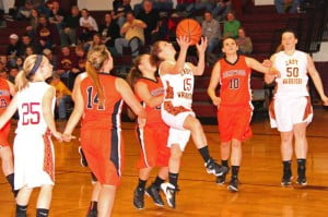PCHS sophomore Tiffany Hoover jumps for a layup against Richwood on December 19.