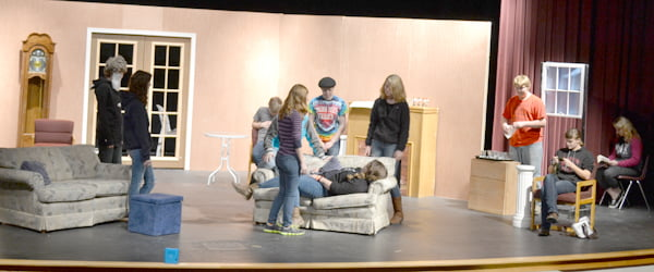 """Theater students at Pocahontas County High School practice a scene in """"Ten Little Nutcrackers,""""in the school auditorium Monday afternoon. The students will perform for the public Tuesday, December 9, at 7 p.m. The event is free, though donations are appreciated. S. Stewart photo"""