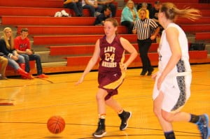 PCHS junior Kayleigh Arbogast moves upcourt against Nicholas County in the Webster County Tournament.