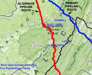 A map shows the primary and alternate routes of a proposed 42-inch natural gas pipeline through Pocahontas County. The newly disclosed alternate route passes close to Marlinton, Edray and Slaty Fork. Towns and route labels added by The Pocahontas Times. Atlantic Coast Pipeline/Dominion Transmission map.