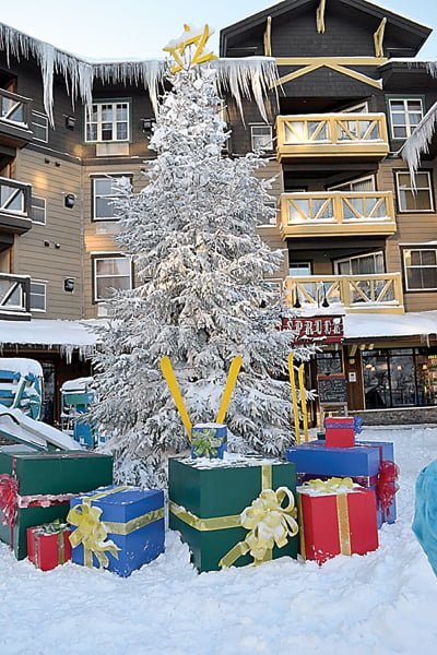 New Christmas decorations light up The Village at Snowshoe Mountain Resort. The center of attention is this large tree with plywood presents and a star made from miniature skis. S. Stewart photo