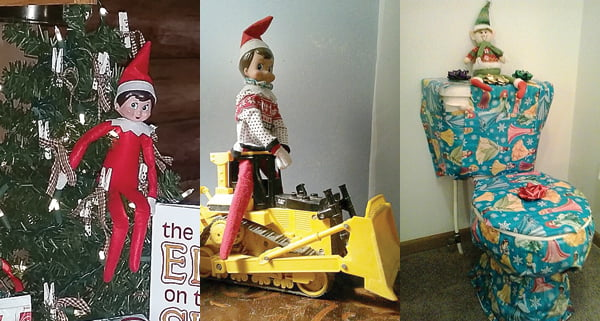 From left: Twighlight Sparkle, Lexie Arbogast's Christmas elf, brought gifts his first night at her house, including a book, pudding and hot cocoa. Photo courtesy of Darlene Arbogast. Elves are known to pull pranks during their stay with the children. Olivia and Clayton Burgess' elf, Trevor Lee, takes a toy bulldozer for a ride. Photo courtesy of Megan McGee Burgess. Heidi Cole's elf, Louie, took time to wrap the toilet in Christmas wrapping paper. Photo courtesy of Jessie Cole