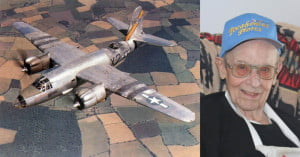 On the left, a B-26 Marauder bomber flying a mission over Europe in World War II. On the right, Frank resident Dabney Kisner, who served as a bomber/navigator on a B-26 crew during the war. Kisner's position was in the plexiglas nose of the aircraft, where he operated a .30 cal machine gun and a Norden bombsight. G. Hamill/Government photos.