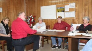 Engineer Fred Hypes, with Dunn Engineers, explains an engineering plan to Marlinton Council on Monday night. Hypes told Council that the West Virginia Bureau of Public Health required the addition of a water clarifier to the design for an upgraded Marlinton water plant, which will add an estimated $650,000 to the project cost.