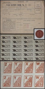 While tearing down a house, Gary Pritt, of Denmar, found two World War II war ration stamp books that were issued to William Madison Boggs, Jr. The red stamps were used to purchase meat and butter. Red and blue one-point tokens, like the one in the inset, were used to make making change for ration stamps. Other items rationed during the war included tires, automobiles, shoes, nylon, sugar, gasoline, fuel oil, coffee and processed foods.