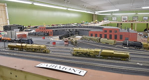 Of the five railroad cities featured in the exhibit, two are located in West Virginia. Above, the roundhouse at Fairmont shows how large the railroad industry was in the state in the 1950s.