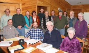 A group of state officials, representatives of park foundations and local volunteers met on Saturday at Watoga State Park to plan the formation of a foundation to support the park. Pictured, left to right, front row: Watoga Superintendent Mark Wylie, District Administrator Brad Reed, Cacapon State Park Foundation President James Michael and Jackie Michael. Back row: Mountain State Rail and Logging Historical Association President Bob Hoke, State Park Foundation President Lin Dunham, Nancy McComb Smithson, Maureen Conley, Scott Triplett, Tom Meadows, Mark Mengele, Ken Springer, Watoga Assistant Superintendent Kelly Smith, David Elliot and Mary Dawson.