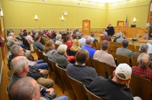 Fred Burns, Jr., of Marlinton, speaks during a Pocahontas County Commission meeting on February 11. Burns told the commission that he supports construction of a proposed natural gas pipeline in northern Pocahontas County because the alternative is gas transport by trucks and train.