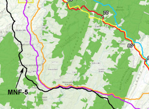 A Dominion Resources map showing a preferred and five alternative Atlantic Coast pipeline routes through the Monongahela National Forest and Pocahontas County. Dominion has stated its intent to survey just the preferred route (shown in blue) and MNF-5 (shown in black). MNF-5 label added by The Pocahontas Times. Dominion Resources map.