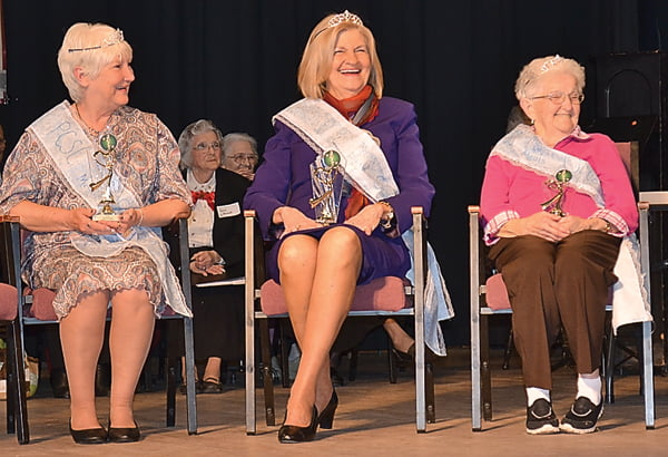 The Royal Court of the first Pocahontas County Senior Citizens March for Meals Pageant are, from left: Peggy McCall, Ruth Taylor and Nellie Adkison. The pageant was the kick-off event for the March for Meals fundraising season. S. Stewart photo