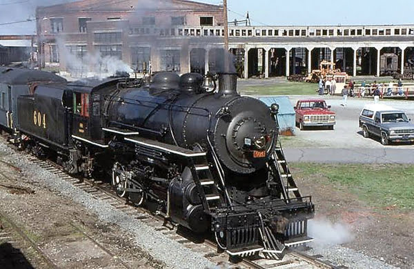 The Buffalo Creek and Gauley 2-8-0 No. 4 locomotive at the North Carolina Transportation Museum in Spencer, in the early 1990s. Photo courtesy of North Carolina Transportation Museum