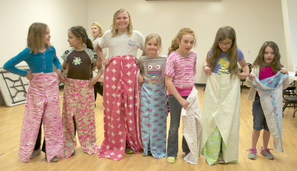 Students in the pajama pants sewing class are, from left:Taylor Hoke, Riley Pollack, Joni Barlow, Kirsten Friel, Hannah Burks, Elizabeth Friel and Addyson Wooddell. Photo courtesy of Cherri Hankins