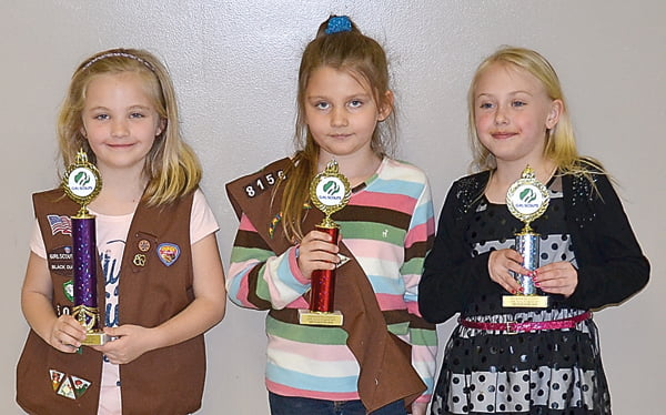 Pies, first place, Kirsten Friel; second place, Trinity Bennett; and third place, Eden Smith.