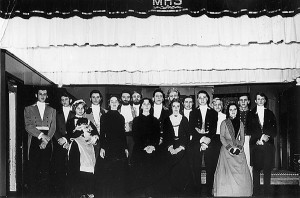 Cast members in the 1965 Marlinton High School Junior Play, The Barretts of Wimpole Street. Front row - l to r: Martha Davison, Judy Baxter, Harriet Johnson, Virginia Miller, Jimmy Dilley, Nancy Diller, Dale Hollandsworth. Back row - l to r: Albert Wade, David Sparks, John Dean, Joe Sharp, Raymond Pryor, Larry Davis, Mike McMann, Bob McComb, Rick Griffin, Dolan Irvine. Costumes for the play were from the McClintic family. Photos courtesy of the McClintic collection