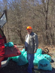 Stony Bottom resident Homer Hunter volunteered with other community members to clean up litter on April 11. The group also included Eddie Turner , Sherry Turner, Travis Turner, Randy Chaffin, Anita Chaffin, George Snyder, Jennifer Snyder, Gene Wilfong, Jetta Wilfong, Brandon Wilfong, Bill Moore, Wayne Tallman, Bob Runyon, Tina Runyon, Becca Epling, Lily Epling and Cyndy Epling. Photo courtesy Bob Runyon.