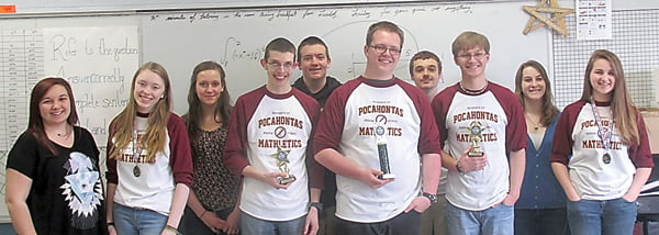 The Pocahontas County High School Math Field Day team, from left:Kayla Lester, Corinne Airgood, Laura Baudler, David Rose, Ryan Puffenbarger, Vincent Harper, Logan Burks, Miles Goodall, Marilyn Creager and Casey Griffith. Five members placed in the top 12 at the regional fair and will move on to the state fair at Concord University April 18. Photo courtesy of Wanda Hrabina