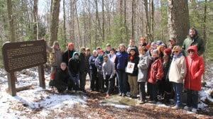 Representatives of the Old Growth Forest Network conducted a dedication ceremony at Gaudineer Scenic Area last Thursday to make the area an official part of the network. Students and teachers from Alleghany High School in Covington, Virginia, attended the ceremony as part of an overnight wilderness ecology field trip. G. Hamill photo.
