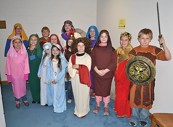 ACTORSINTHEMarlinton United Methodist Church after-school program, Kids Rock, show off the costumes  from an Easter play the group presented Palm Sunday. First row, from left: Ally Ramsey, Rachel Felton and Evan Hamrick. Second row, from left: Riley Pollack, Tailor Hoke, Bailey Barrett, Kailynn Dean, Ella Woodhouse, Kimberly Underwood, Jaryd Friel and Ethan Hamrick. Third row, from left: Elizabeth Smithson, Edmond Akers and Micayla Bryant. S. Stewart photo