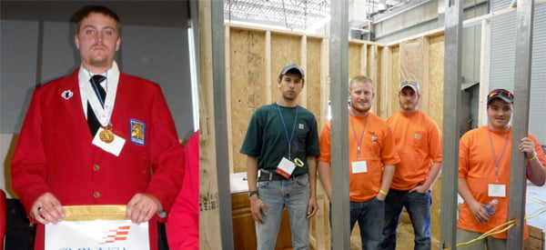 Pocahontas County High School senior Travis Taylor took first place in carpentry at the state SkillsUSA competition. Pocahontas County High School TeamWorks members stand within the structure they built at the state SkillsUSA competition at Camp Dawson. From left, Patrick Collins, Chad Burns, Wes Brown and Chris Varner earned second place for their efforts. Photos courtesy of Duane Gibson