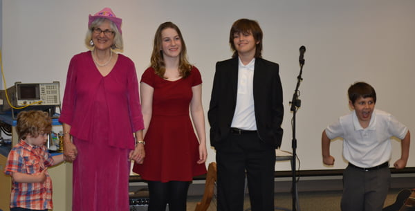 Julia Bauserman and her students take a bow at the conclusion of their spring concert Thursday evening. From left, Heath Balin, Bauserman, Marilyn Creager, Alan Gibson and Caleb McCarty. Not pictured: Azalea Balin and Avery McCarty. S. Stewart photo