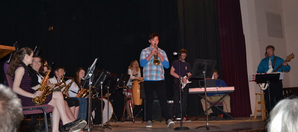 The Pocahontas County High School Jazz Band performs a selection of upbeat and funky tunes at the Evening with the Arts Thursday at the Pocahontas County Opera House. The event was hosted by the Marlinton Woman's Club. S. Stewart photo