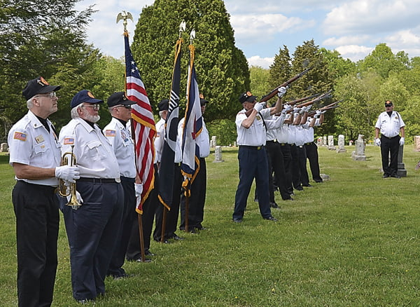 The Pocahontas County Veterans Honor Corps presented a 21 gun salute at the Memorial Day ceremony Sunday at the Arbovale Cemetery. S. Stewart photo
