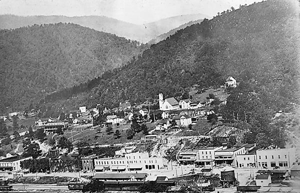 A view of Durbin when it was a booming town with a busy train depot for the C&O and Western Maryland railroads. Photo courtesy of Julian Whanger