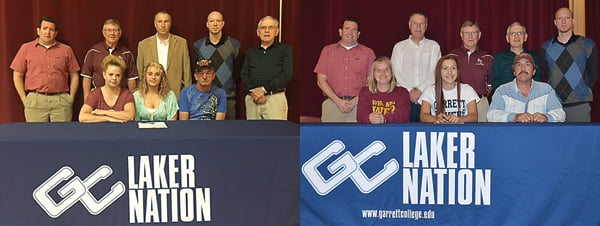 Left photo: Attending Tristin Day's official signing with Garrett College were, seated, from left:Melissa Reed, Tristin Day and Lloyd Reed. Standing, from left: assistant girls coach Phillip Anderson, girls coach Mike Kane, PCHS principal Robert Miller, Garrett College girls basketball coach Bogie Boggess and statistician Bruce McKean. Photo courtesy of Melissa Reed Right photo: Attending Bobbie Jo McNabb's official signing with Garrett College were, seated, from left:Rosemary McNabb, Bobbie Jo McNabb and Rob McNabb. Standing, from left:assistant girls coach Phillip Anderson, PCHS principal Robert Miller, girls coach Mike Kane, statistician Bruce McKean and Garrett College girls basketball coach Bogie Boggess. S. Stewart photo