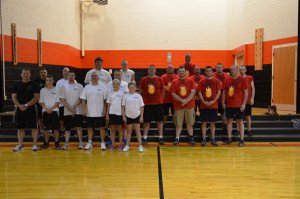 A hard-fought battle for a good cause took place Friday night at Marlinton Middle School's gymnasium, when the Air Guns of Burns Motor Freight took on the Marlinton  Fire Department Hoses