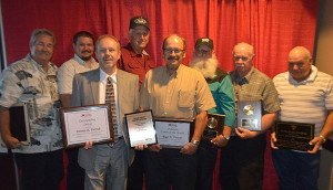 BURNS MOTOR Freight drivers took major awards at the West Virginia Trucking Association banquet June 20 in Charleston – Eugene Collins, Professional Driver of the Year; James R. Bailes, West Virginia Public Service Commission's Driver of the Year; and Keith Miller, State Police Safety Award. Pictured, l to r: Dennis Farrish, Michael Goldizen, Gary Kramer, Paul R. Goldizen, Roger Trescott, Collins, Bailes and Miller. Photo courtesy of WVTA