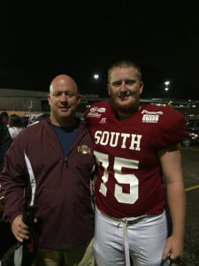 2015 PCHS grad Chad Burns, right, with his dad and high school football coach, Doug.