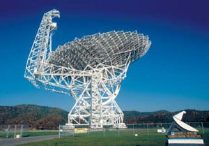 The National Science Foundation's Green Bank Telescope will join in the search for intelligent life in the Universe as part of the Breakthrough Listen endeavor. Photo courtesy of NRAO/AUI/NSF