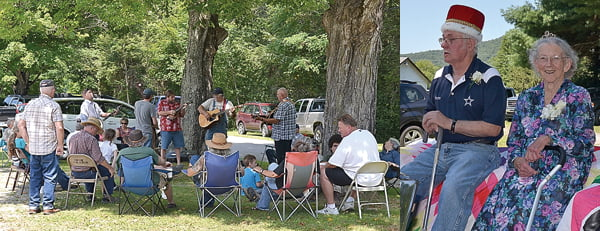 A crowd enjoys music performed by the Viney Mountain Boys and Homer Hunter at Dunmore Daze last weekend. Inset, Dunmore King James Gragg and Queen Ruth Horner settle in for their royal ride in Saturday's parade. S. Stewart photos