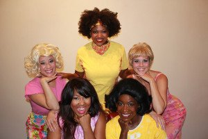 Front, l to r: Kim Morgan Dean and Samantha Blain: back, l to r: Tamala Baldwin, Ambe Williams and Crystin Gilmore. Photo Courtesy Greenbrier Valley Theatre