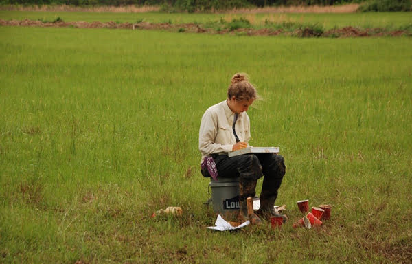 West Virginia University student and Green Bank native Adrienne Nottingham takes notes during a soil judging competition. Photo courtesy of Adrienne Nottingham