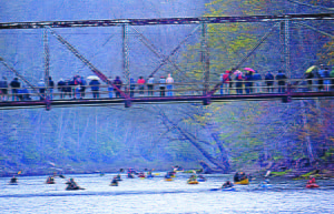 A photo of the blue bridge taken during this year's Great Greenbrier River Race