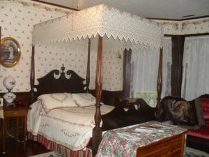 The Rose Room, one of three bedrooms available in the main house.