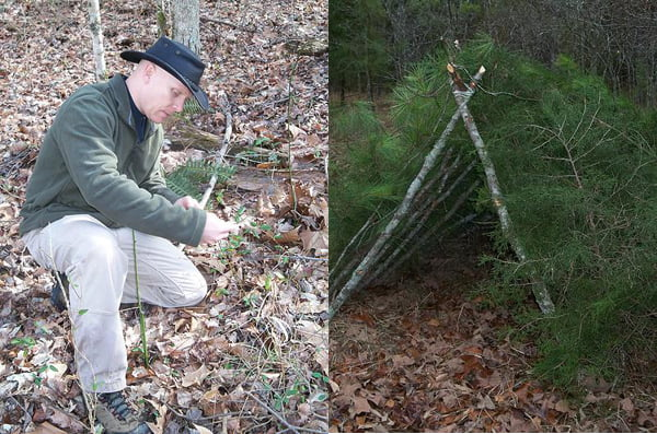 """Photo courtesy of  Todd Longanacre Forest Manna Outdoors founder Todd Longanacre has spent the last 22 years perfecting and sharing his wilderness suvival skills. One of the skills he teaches is foraging for wild edibles. Right photo, A shelter made with """"found"""" materials."""