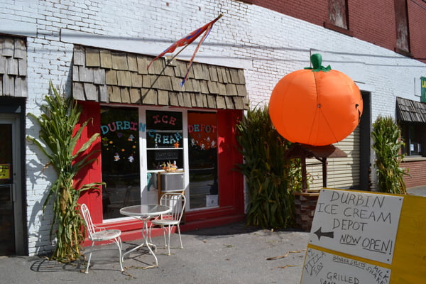 Durbin Ice Cream Depot owners Pam and David Vanorsdale are opening a pumpkin patch for the month of October. Each Saturday, beginning October 10, the community is invited to enjoy activities and pick out a pumpkin to take home. S. Stewart photo
