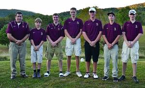 BRANDON WILFONG WAS a low medalist, finishing his game with a score of 39, on Thursday, September 17. The Pocahontas County Golf team traveled to Moorefield Monday for the PVC Conference meet. The team will travel to Canaan Valley, September 28, for a Regional Match. From left to right: Coach Phillip Anderson, Jared Clemmens, Matt Rao, Brandon Halterman, Brandon Wilfong, Austin Sharp, and Chase Alkire.