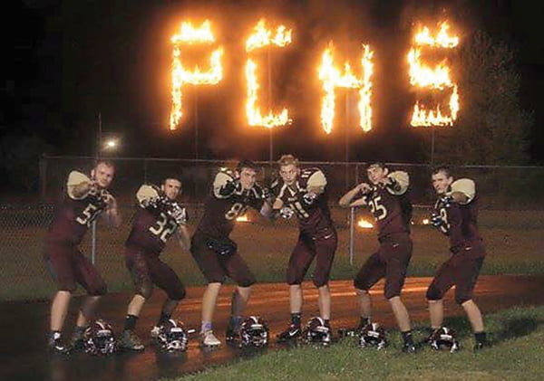 Pocahontas County High School Warrior seniors pose Senior Night at Warrior Field. Pictured, l to r: Chase Earliwine,  Cade Walker, J.D. Hensler, Ryan Dilley, Dalton Irvine and Tyler Owens. Photo courtesy of Samantha Collins