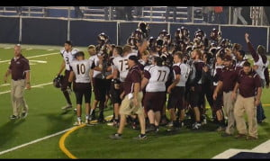 The Pocahontas County High School Warriors celebrate their win over the Man Hillbillies Friday night. The Warriors go up against the Cameron Dragons      November 6. If they slay the Dragons, they will enter the playoffs with a home field advantage. Photo courtesy of Regina Hall