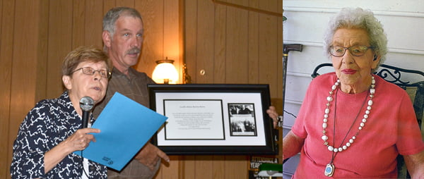 Left photo: Historic Huntersville Traditions secretary Alice Irvine and president Tim Wade unveil a framed photo and story in honor of Lucille Burns. The picture will hang in the Huntersville museum. S. Stewart photo Right photo: Lucille Burns was honored by the Historic Huntersville Traditions organization for her love of the community where she was born. Photo courtesy of the Burns family