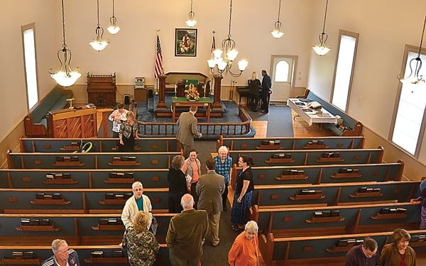 The newly renovated Edray United Methodist Church was celebrated with a dedication ceremony Saturday. The congregation gathered to share stories and memories of the church, which was established in 1883. S. Stewart photo