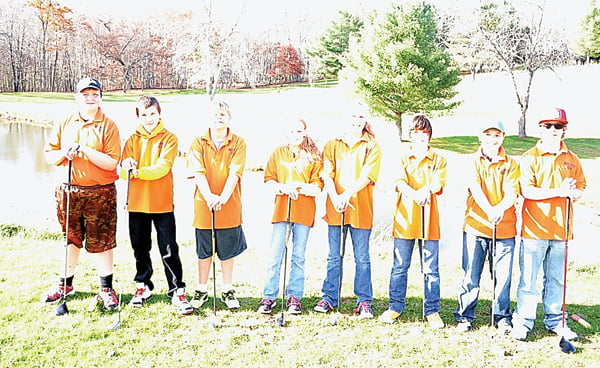 Members of the Marlinton Middle School Golf Club include, from left:Jarrett Lucabaugh, Landon Gibson, Hayden Mick, Hannah Waugh, Hazel Riley, Aiden Lutz, David Gibb and Gareth Ryder. Not pictured: Silas Riley, Maria Workman, Emmett Doolittle and C.J. Long. S. Stewart photo